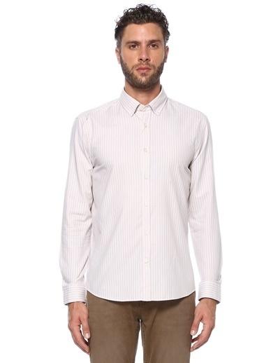 George Hogg George Hogg Düğmeli Yaka Uzun Kollu Slim Fit Çizgili Erkek Pamuk Gömlek Bej